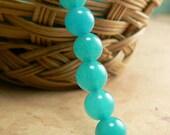 Turquoise Opal Glass Beads Round Druk Milky Aqua Blue 5mm (50)