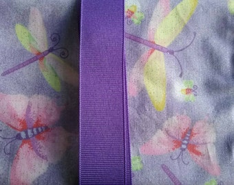 Lavender Butterflies, Dragonflies,Fireflies w/Purple Ribbon Tarot Card/Oracle Pouch with Quartz Crystal Reiki Charged