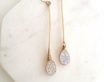 White Druzy Earrings Long Stick Earrings Linear earrings Pendulum earrings Amaretto Druzy Teardrop druzy Gift for her Under 75