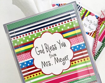 Kleenex box cover, tissue box cover, desk accessory, teacher gift