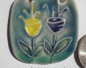 Festive Purple and Yellow Tulip Porcelain Pendant