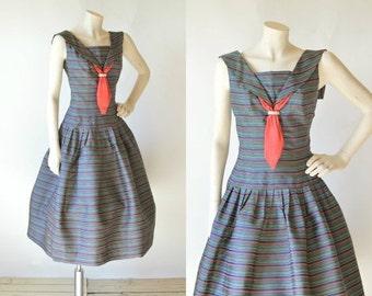 30% OFF 1950s Party Dress --- Vintage Rainbow Striped Junior Set Dress