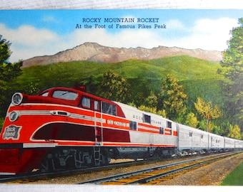 Vintage Rocky Mountain Rocket Train @ Foot of Pikes Peak Linen Postcard
