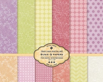 Digital Paper Pack for invites, card making, digital scrapbooking - Susie Q