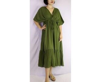 Dark Green Soft Cotton V-Neck Short Ruffle Tunic Dress One all most (GR 01)