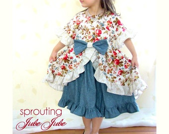 Sewing Pattern with Tutorial for the Enchanted Dress w. half and 7/8 sleeves 9m-12 girls Instant