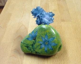 Blue Flower Hand  Painted Rock on Driftwood base Bud Vase