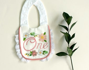 1st Birthday Bib for Baby, Blush Garden Party