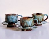 Drip Glaze Pottery Cups and Saucers Blue & Brown Rustic Handmade Vintage