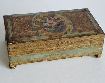 Florentine Box Wood Painted Roses Gilt Green Hand Painted Made in Italy