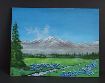 Original Bluebell Painting on Board Flowers Texas Landscape Snow Covered Mountains