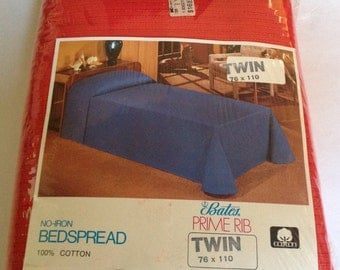 Bates Twin 'Prime Rib' Bedspread Red Cotton Factory SEALED Vtg 70s