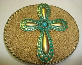 Womens Belt Buckle - Turquoise Cross