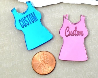 ENGRAVED CUSTOM TANKTOP - Cabochon - Charm- Pendant - Laser Cut Acrylic - You Choose The Font, Word, and Color