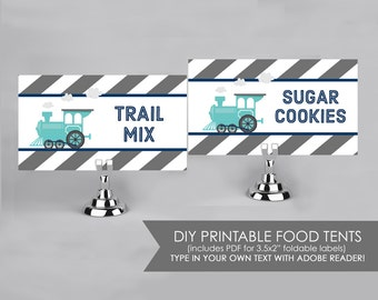 Choo Choo Train Party - Navy and Grey - Food Labels - Printable DIY with fully editable text