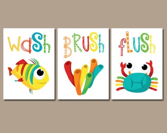 Kids Bathroom Wall Art wash brush wall art canvas or prints child bathroom brother