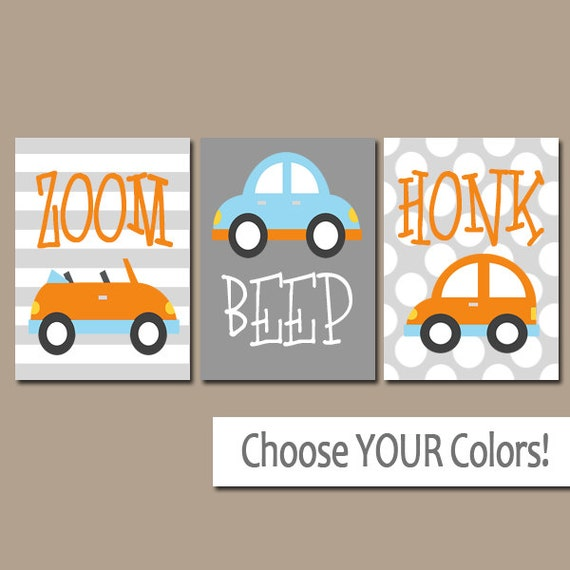 Nursery Wall Decor Transportation : Cars wall art transportation theme baby boy pictures canvas