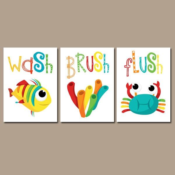 kid bathroom wall art canvas or prints crab fish bathroom. Black Bedroom Furniture Sets. Home Design Ideas