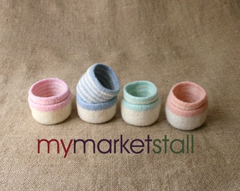 SALE! Felted Striped Bowl Set - Assorted Colors - Ready to Ship
