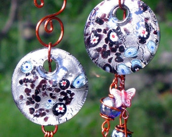 Set of 2 Glass Suncatchers with Flowers, Glass Butterflies and Copper Wrapped Glass Marbles, Garden Decor, Home Decor