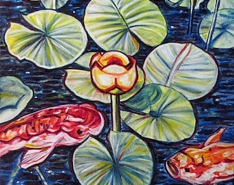Dance of the Water Lilies -- 24 x 24 inch Original Oil Painting by Elizabeth Graf -- Art Painting, Art & Collectibles