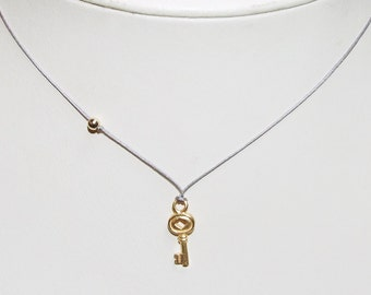 18k Gold Plated Sterling Silver Vermeil Key Necklace, 14k Gold Filled Bead, Unbreakable Cord, 14k Gold Filled Clasp, Simple Jewelry,  Zen