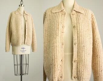90s Vintage Eddie Bauer Oatmeal Wool Cardigan Sweater Coat / Size Small / Medium