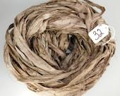 Silk Sari Ribbon, recycled sari ribbon, Sari Silk Ribbon, Sari ribbon, brown sari ribbon, brown ribbon, silk ribbon, knitting supply