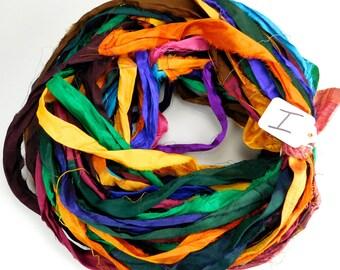 Sari Silk Ribbon, Recycled Silk Sari Ribbon, multi color ribbon, WIDE sari ribbon