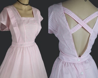 vintage full skirt dress 80s 50s swing dance cotton pink pinstripe white criss cross open back retro pleated fit and flare size med m