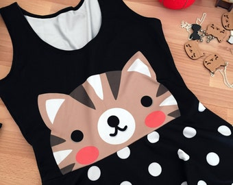 Kitty Cat Sleeveless Skater Fit and Flare Dress - Size S-3X