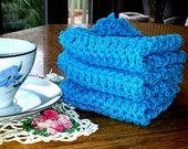 Crochet Cotton Washcloths Dishcloths Handmade Crochet Cotton Wash Cloths Dish Cloths Blue Dish Rag