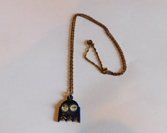 RARE Inky Pac Man Necklace 1980s Arcade Game Jewelry