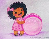 Pink Macaron-Watercolor- Painting-Print-Big Eye Art- Cookie- Love Pastry- Valentine- Child Art-Chicasol