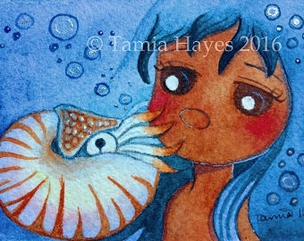 ORIGINAL- ACEO- Watercolor Painting- tamia- chicasol- big eye art- nautilus- mermaid-ocean- bubbles- nursery- sea- underwater