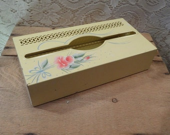 Vintage metal kleenex box tissue holder yellow with flowers