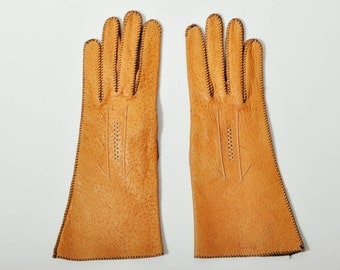Vintage Max Mayer Brown Leather Gloves