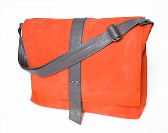 Messenger Bag, Everyday Bag, Waxed Canvas Bag, Crossbody Bag, Canvas Messenger Bag, Laptop Bag, Weekender - The Sloane Bag in Safety Orange