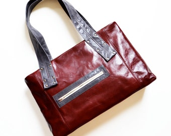 Laptop Tote Leather, Everyday Leather Bag, Shoulder Bag, Leather Tote Bag, Leather Shopper, Womens Laptop Bag - The Grayson in Oxblood Red