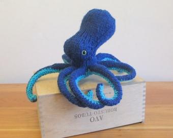 Octopus Stuffed Animal, Plush Octopus Fiber Art Sculpture, Handknit Blue