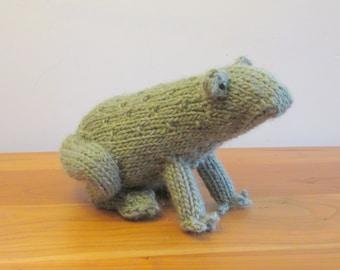 Stuffed Frog Plush Green Frog Toad Handknit Fiber Art Sculpture
