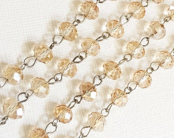 3ft of antique silver chain with  glass rondelle beads,  brass chain with champagne color glass beads, brass beaded chain