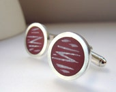 Burgundy Cufflinks - Round  Modern Colourful Cuff-links - Resin & Silver Cuff links - Maroon Marsala Wine Red Gift for Him