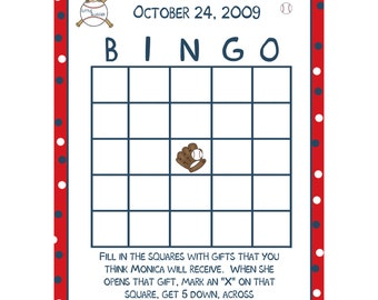 24 Personalized Baby Shower Bingo Cards - Little Slugger - Baseball Baby Shower  - Little Slugger Baby Shower Bingo
