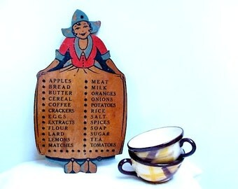Vintage Wooden Shopping List Peg Board Dutch Girl