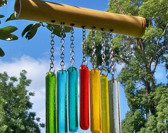 Fused Glass and Bamboo Wind Chime