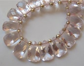 3.5 Inches 1/2 Strand of Pink Quartz Faceted Pyramid Briolettes 7mm x 10mm semi precious gemstone beads