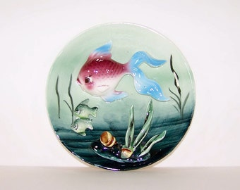 Vintage Napco Anthropomorphic Small 3D Fish Plate