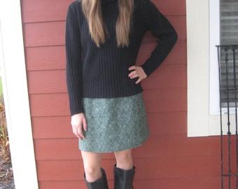 Vintage Wool Mini Skirt with Pleat Detail by Ellen Tracy Mid Century Modern 1960s Fall Fashion Autumn Fashion (4192-W)