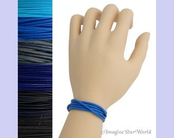 Custom Blue LEATHER Cord Wrap Bracelet up to 72 inches long - choose shade, diameter, length, clasp color - 1.5 mm, 2 mm or 3 mm